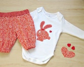 Girls clearance clothing set. Toddler girls clothing sale. Reduced rabbit onesie and pants. Toddler girls summer clearance sale.
