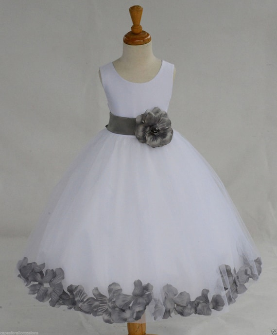White Flower Girl Dress With Plum Sash 116