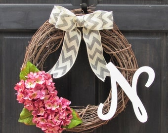 Monogram Wreath, Spring Initial Wreath, Hydrangea Wreath with Letter, Personalized Wreath, Grapevine Wreath, Housewarming Wreath for Spring
