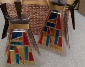 MCM Glass Triangular Carafe by Inland Glass Unique Shape 1960s