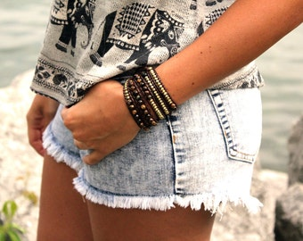 Brown Wrap Bracelet; Tigers Eye Stone Leather Wrap Bracelet, 5 wrap Leather Bracelet, Beaded Bracelet, Turquoise Leather Wrap bracelet