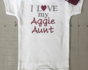 Aggie, Aggie Onesie, Aggie Aunt, I Love my Aggie Aunt, baby girl or boy embroidered onesie with matching hair bow