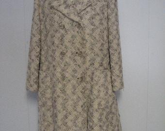 Beige Tweed Coat/1960's Tweed Coat/Spring Coat/Vintage Coat