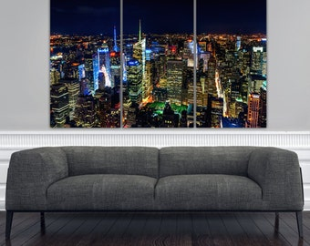 New York City at Night Canvas Art, Brite Lights New York Canvas, New York Photo, New York Art, New York Decor, New York City Art, NY