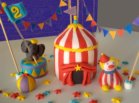 Fondant Circus - Carnival Tent Cake Topper Circus - Carnival colourful Cake Decor (elephant clown ball and flags) items sold separately from ... & Fondant Circus - Carnival Tent Cake Topper Circus - Carnival ...