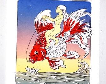 Whimsical goldfish illustration, ryukin goldfish, Original screen print limited edition, large wall art, framed, nursery, silkscreen