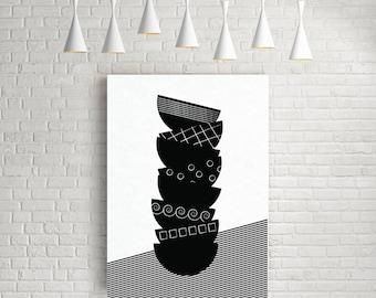Bowls Kitchen Poster Scandinavian Art Black And White Print Minimalist Wall Decor