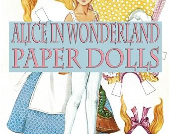 1970's Alice In Wonderland Paper Dolls Set Graphic INSTANT Digital Download