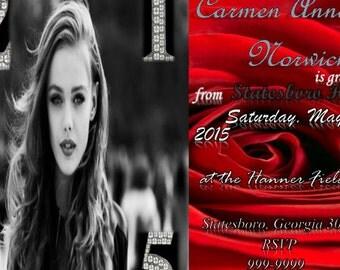 Red Rose Graduation Invitation