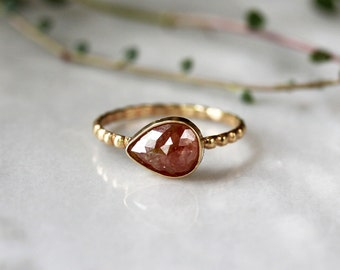 Pear Cut Unique Engagement Ring, Copper Red Diamond Ring, Pear Rose Cut Diamond, 14k Yellow Gold Dotted Band, Modern Bride, Handmade Jewelry