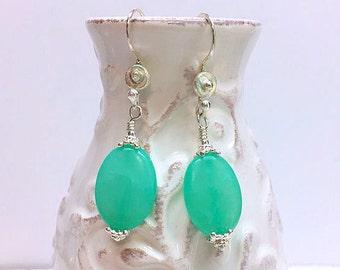 Lucite Green Hemimorphite and Sterling Silver Earrings