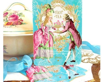 Marie Antoinette high tea invitations, romantic baroque couple, French vintage cards, a set of 4