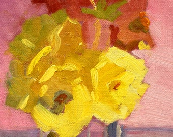 Floral Still Life Oil Painting, Original 6x8 Canvas, Roses, Lily, Yellow, Red, Pink, Romantic Decor, Small Wall Art, Flowers, Blooms, Rose
