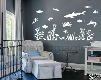 Underwater Wall Decal for Nursery or Baby's Room - Under Water Fish Shark Ocean Sea Scene Wall Art - children room wall décor - K239