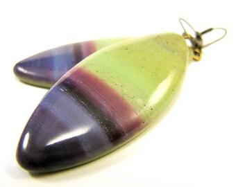 Polymer Clay Earrings - Amethyst Jewel Earrings