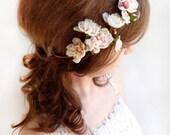 bridal headpiece, ivory flower headband, ivory flower hairpiece, flower crown, bridal hair pieces, rustic wedding, pink flower crown wedding
