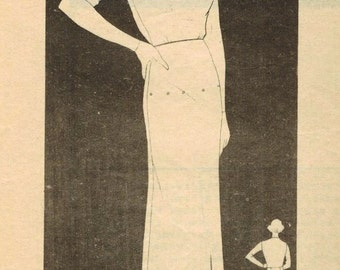 1930s Marian Martin 9306 Vintage Sewing Pattern Misses Basic Dress, Fitting Dress Size 14 Bust 32