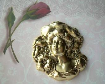 Wowza Vintage Art Nouveau Lady Stamping Brass Oxidized Dimensional