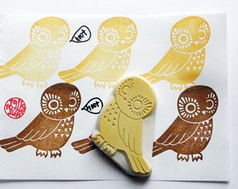 owl rubber stamp. bird hand carved stamp. woodland animal stamp. card making. scrapbooking. gift wrapping. christmas birthday crafts