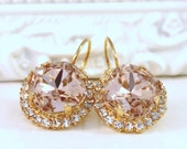 Beautiful Blush Swarovski Crystals Framed with Clear Halo Crystals on 14k Gold Leverback Earrings