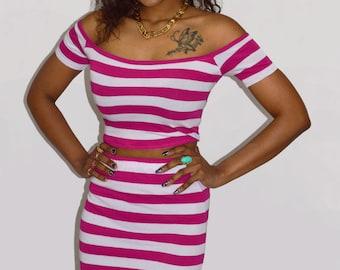 Open shoulder top Off shoulder top Pink bardot top Cropped top Stripe bardot top Pin up top Off the shoulder Pink stripe top 80s crop top