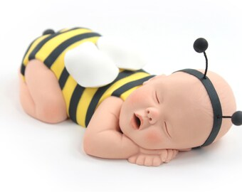 Cute As Can Bee Bumble Bee Baby Cake Topper Yellow & Black Sugar Paste for Baby Shower by lil sculpture