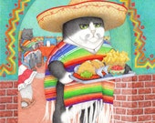 Wendelito Kitty / Cat PRINT / Cat Drawing / Cat Art / Colored Pencil Art / Childrens Book Illustration / Mexican Food Art