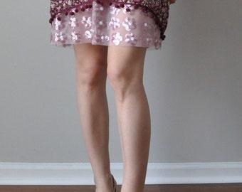 Extender Slip - Sequin Daisy Mesh Pink Trim - Skirt Extender Slip  XS S M L XL