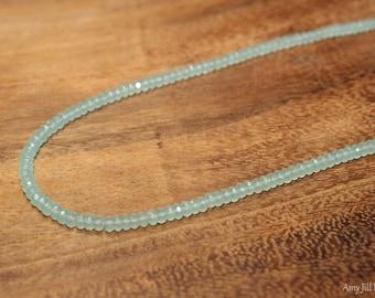 Aqua Chalcedony Necklace, Aqua Chalcedony Jewelry, Beaded Necklace, Gemstone Jewelry