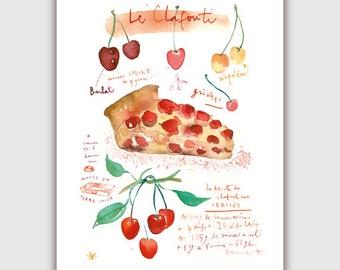 Cherry pie, Watercolor print, 8X10 print, Food art, Watercolor painting, Country home decor, Watercolor art, Kitchen decor, Watercolor fruit