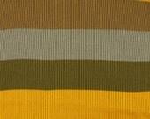 Brown Olive Marigold Stripes, Rib Knit Fabric, Heavy Weight Cotton, half yard, B1