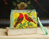 Wristlet Zipper Pouch, Small Purse, Vintage Linen 1974 Bird Calender Upcycle, Scarlet Tanager, Embroidery, Vintage Lace, Calico Lined