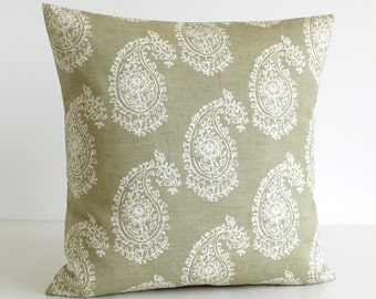 Paisley Pillow Cover, Accent Pillow Cover, Cushion Cover, Shabby Chic Pillow Sham, Pillowcase, Scatter Cushion - Paisley Sage