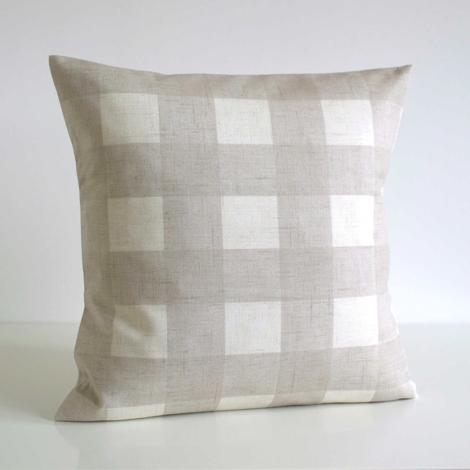 Cottage Chic 18 Inch Pillow Cover Gingham Cushion by CoupleHome