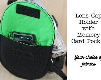 Camera Lens Cap Holder with Memory Card Pocket  - Choose Size and Custom Fabrics - Made to Order