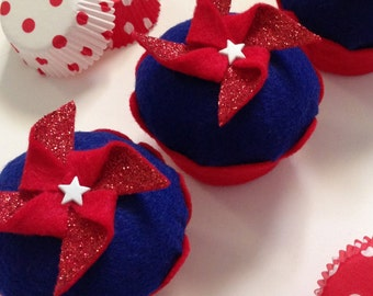 Americana Pinwheel Felt Cupcake - Patriotic Party, Veterans, 4th of July, Gifts,  Favors, Picnic, Welcome Home, Military, USA