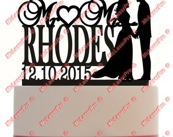 Custom Wedding Cake Topper Monogram Mr&Mrs Silhouette Personalized With Your Last Name, date, color, and a base for display CXMRMRS101