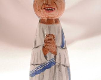 Saint Teresa of Calcutta - Catholic Saint Wooden Peg Doll Toy - made to order