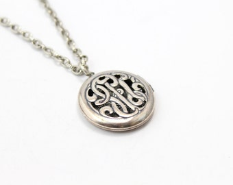 Pewter Monogram Heart Locket with Beautiful Chain.