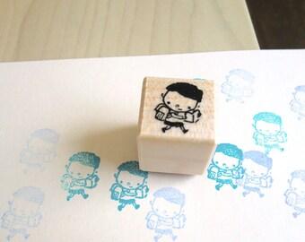 Cute Boy Rubber Stamp, School Boy Wooden Stamp