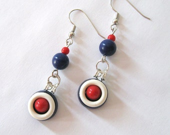 Red White & Blue Repurposed Vintage Button Earrings, Nautical Dangles, Patriotic Earrings 4th of July