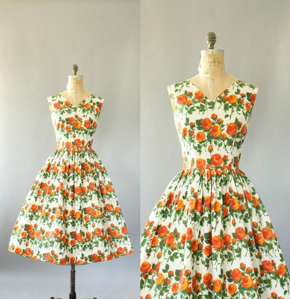 Vintage 50s Dress/ 1950s Cotton Dress/ Orange Rose Print Cotton Dress w/ Full Skirt L