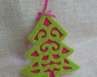 Lime Green Christmas Tree, Hot Pink Felt Ornaments, Set of FOUR, Pink & Lime Green Decor, Christmas Tree, Felt Ornaments SnowNoseCrafts