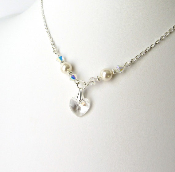 Flower Girl Crystal Necklace, Crystal Heart Necklace, Flower Girl Gift, Flower Girl Jewelry, Girls Pearl Necklace, Kids Swarovski Jewelry