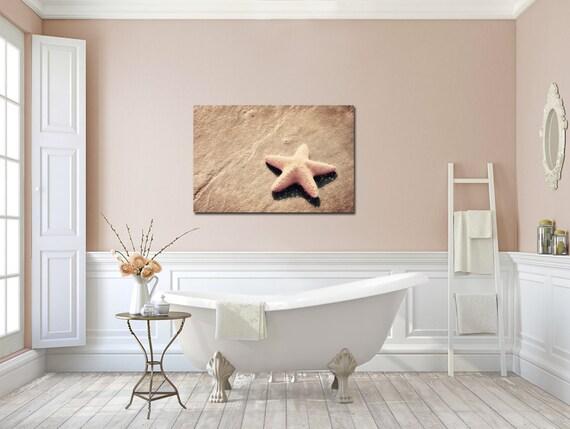 items similar to beach canvas art starfish bathroom art peachy pink sand warm pink seashell large canvas gallery wrap beachy home decor large beach house
