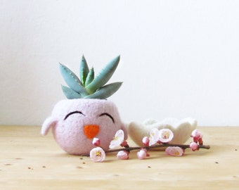 Cute cactus vase / blush pink succulent planter / Happy Chick / Animal planter / Spring gift / Mini Plant Vase / teacher gift
