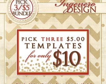 Create Your Own Bundle Of Three - Pick Three 5 Dollar Templates
