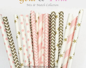 25 PAPER STRAW with free printable DIY Toppers - Gold & Pink - Sales