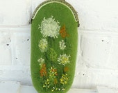 Dandelions, hand felted green case for glasses or sunglasses