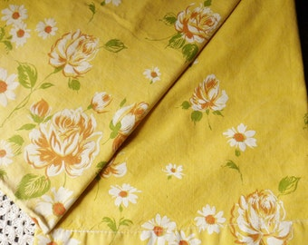 Bright Yellow Retro Pillowcase, Mustard Yellow Pillowcase with Roses and Daisies